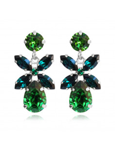 Caroline Svedbom - MINI DIONE EARRING RHODIUM - DARK MOSS GREEN / EMERALD