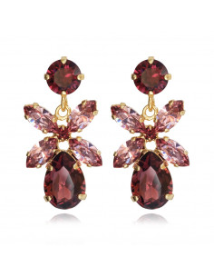Caroline Svedbom - MINI DIONE EARRING GOLD - BURGUNDY / ROSE BLUSH