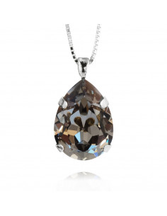 Caroline Svedbom - CLASSIC DROP NECKLACE RHODIUM - BLACK DIAMOND