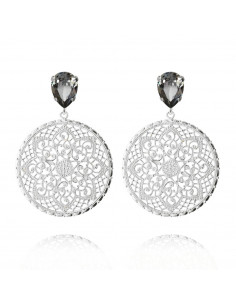 Caroline Svedbom - ALEXANDRA EARRING RHODIUM - BLACK DIAMOND