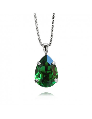 MINI DROP NECKLACE RHODIUM - DARK MOSS GREEN