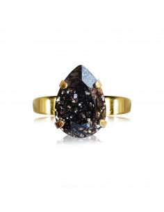Caroline Svedbom - MINI DROP RING GOLD - BLACK PATINA