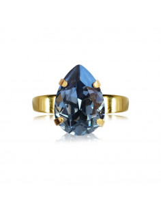 Caroline Svedbom - MINI DROP RING GOLD - DENIM BLUE