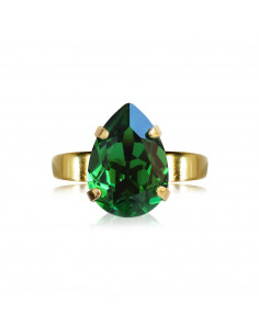 Caroline Svedbom - MINI DROP RING GOLD - DARK MOSS GREEN
