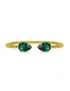 Caroline Svedbom - MINI DROP BRACELETGOLD - DARK MOSS GREEN