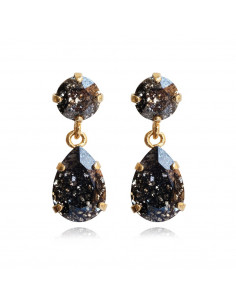 Caroline Svedbom - MINI DROP EARRINGS GOLD - BLACK PATINA