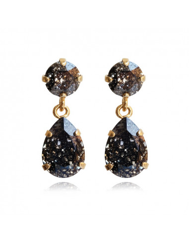 MINI DROP EARRINGS GOLD - BLACK PATINA