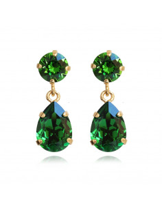 Caroline Svedbom - MINI DROP EARRINGS GOLD - DARK MOSS GREEN