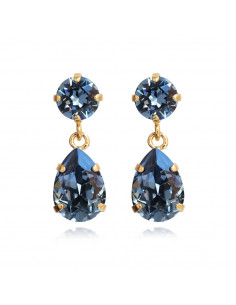 MINI DROP EARRINGS GOLD - DENIM BLUE