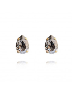 Caroline Svedbom - PETITE DROP STUD EARRING GOLD - BLACK DIAMOND
