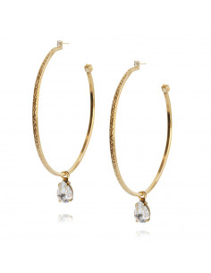 Caroline Svedbom - LOOP EARRING GOLD - CRYSTAL