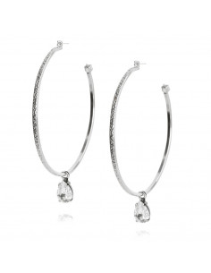 Caroline Svedbom - LOOP EARRING RHODIUM - CRYSTAL