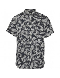 Linen short sleeve shirt with all over print
