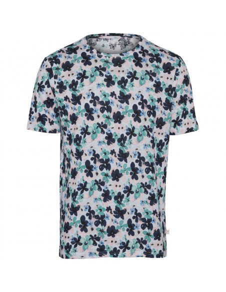 Knowledge Cotton - T-shirt with all over waterbased flower print