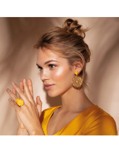 ALEXANDRA EARRING GOLD - BUTTERCUP YELLOW