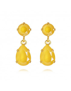Caroline Svedbom - MINI DROP EARRINGS GOLD - BUTTERCUP YELLOW