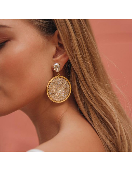 Caroline Svedbom - ALEXANDRA CRYSTAL ROCKS EARRING GOLD - MOONLIGHT