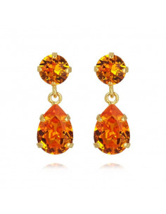 MINI DROP EARRINGS GOLD - TANGERINE