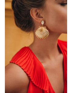 Caroline Svedbom - SHELL EARRINGS - CRYSTAL (GOLD)
