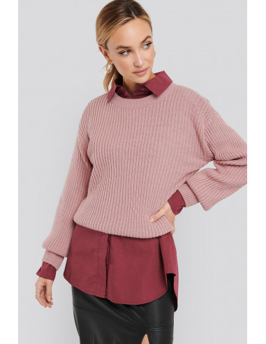 Wool Blend Ribbed Knitted Sweater